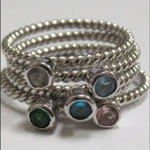 Jewelry - Sterling Silver Stackable Gemstone Ring Assort. 6